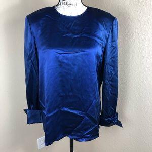 Dana Buchman Cobalt Blue Silk Top Blouse NWT 16